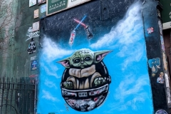 Baby Yoda Street Art, 2nd Ave & Houston
