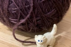 Tiny Toy Kitty Plays with Yarn
