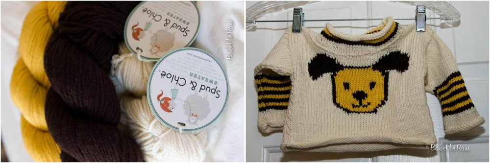 """<a href=""""http://www.ravelry.com/projects/babetter/puppy-pullover"""">Baby Sweater</a>"""