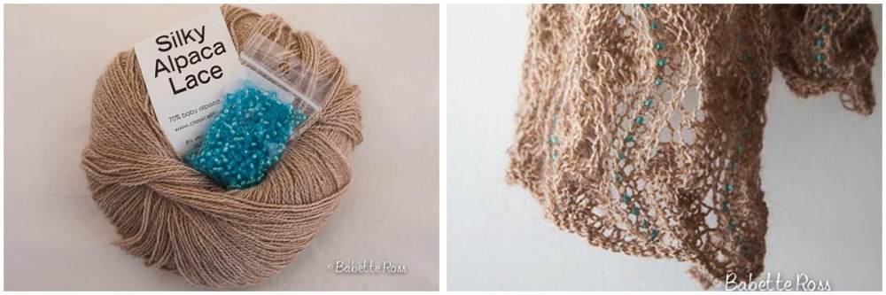 """<a href=""""http://www.ravelry.com/projects/babetter/beaded-lace-scarf-ii"""">Beige Beaded Scarf</a>"""