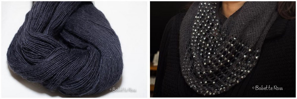 """<a href=""""http://www.ravelry.com/projects/babetter/jeweled-cowl"""">Infinity Scarf with Chunky Beads</a>"""