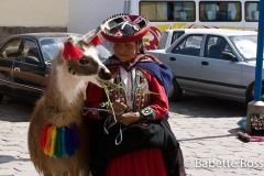 Woman in Traditional Dress with Llama