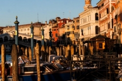 Sunset on the Grand Canal near the Rialto Bridge